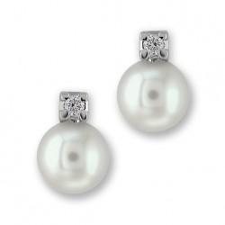 Auskarai Gemoro Classic su 5-5,5mm perlais ir 0,03ct briliantais