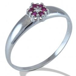 Žiedas Gemoro classic su 0,01 ct briliantu ir rubinu