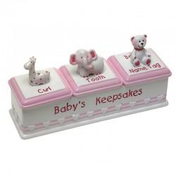 Atminimo dėžutės, rausva (dantukui, sruogelei ir gimimo dokumentui)