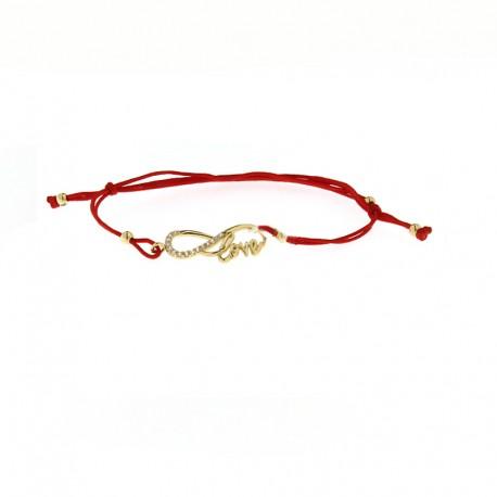 Raudono siūlo apyrankė su auksu