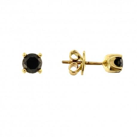 Auksiniai auskarai su juodaisiais deimantais