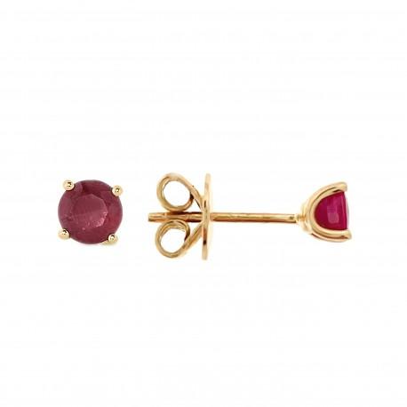 Auksiniai auskarai su rubinais